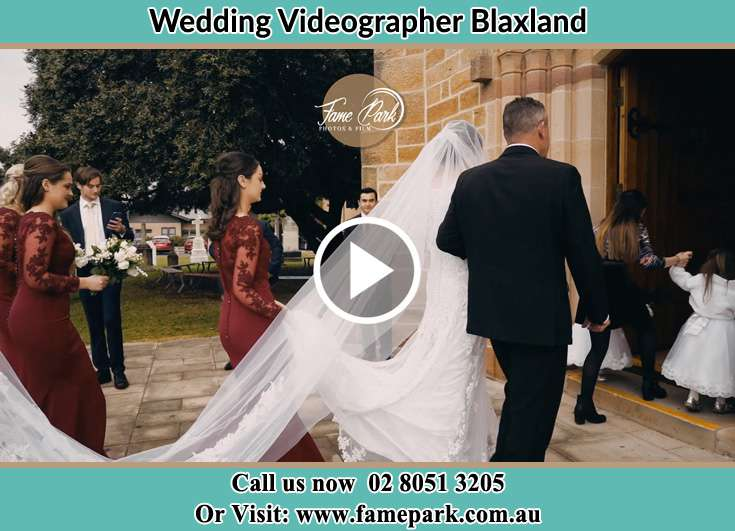 Bride walking at the church with her father Blaxland NSW 2774