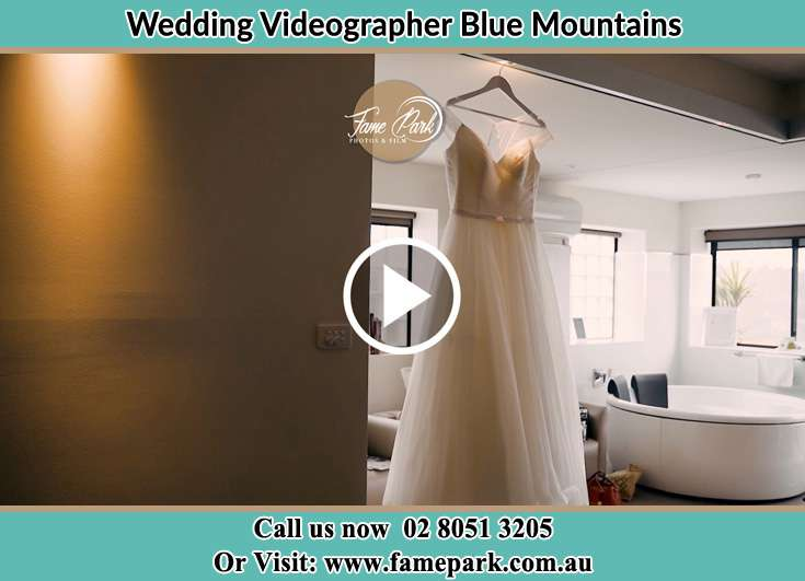 Picture of wedding dress on hanger Blue Mountains