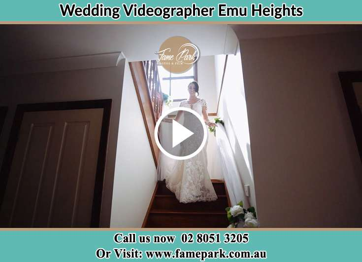 Bride walking down the staircase Emu Heights NSW 2750