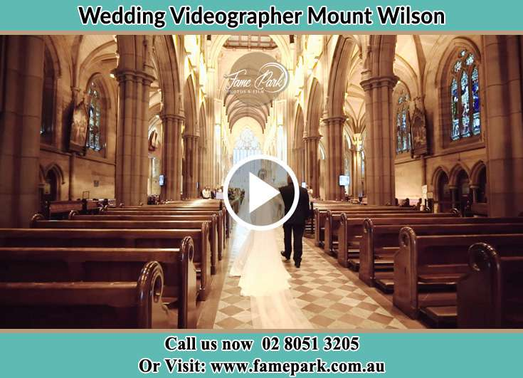 Bride walking at the aisle with her father Mount Wilson NSW 2786