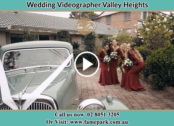 The bridesmaids looking at the bridal car Valley Heights NSW 2777